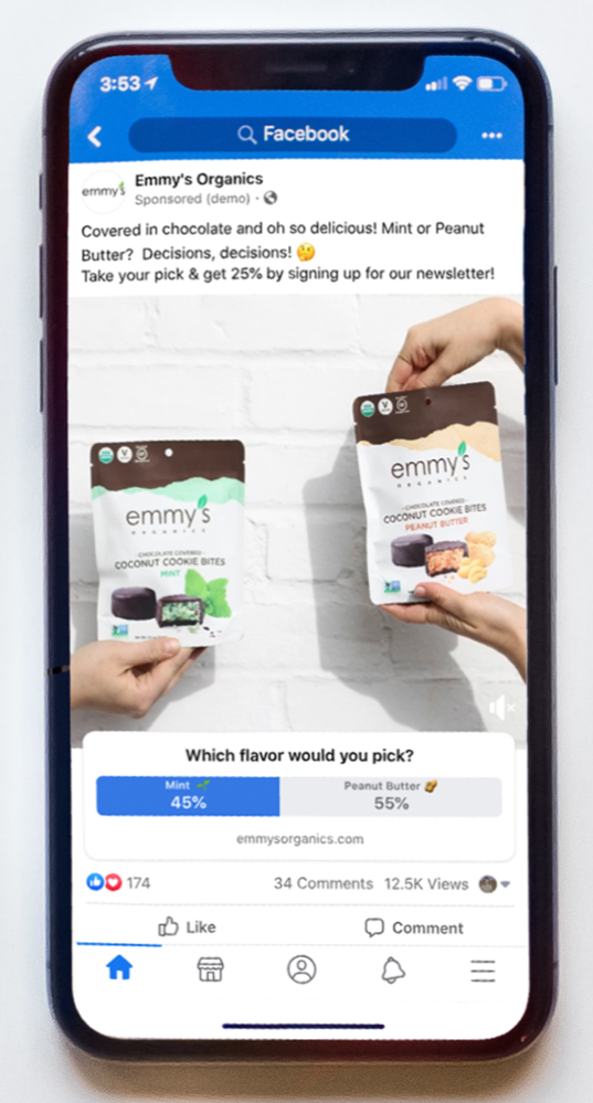 Facebook Poll Ad - Zoomed on Phone