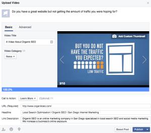 Facebook Video Uploading Screen
