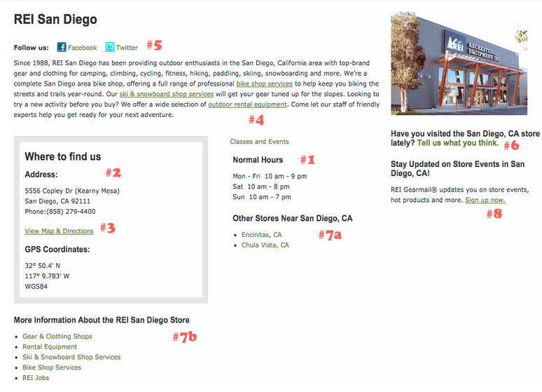 REI Multi-Location Local SEO Location Page