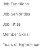 Job Experience Targeting Options