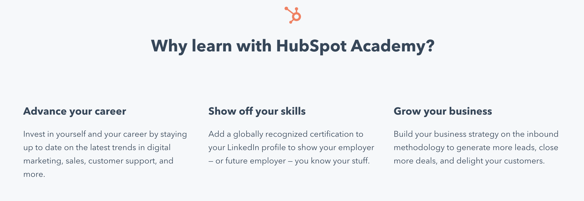 Why learn HubSpot Screenshot