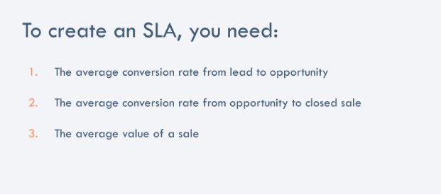 HubSpot 3 points to creating an SLA